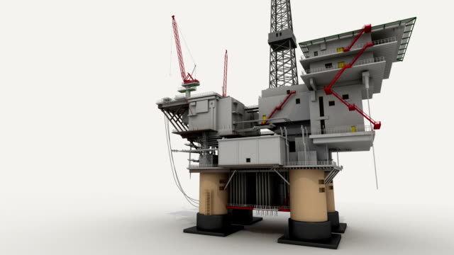 Drill ship on white ground for presentation, side view video