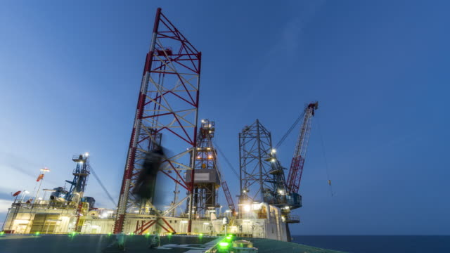 drilling platform - day to night video