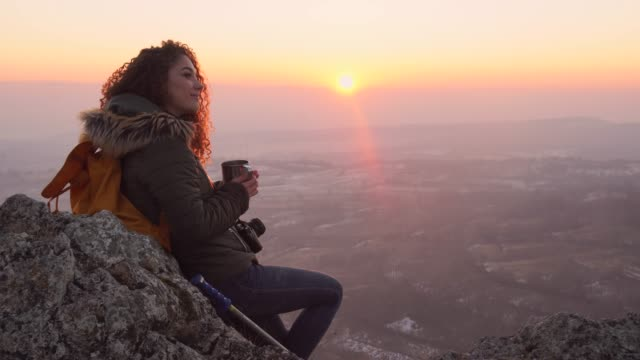Drinking tea at the top of the mountain