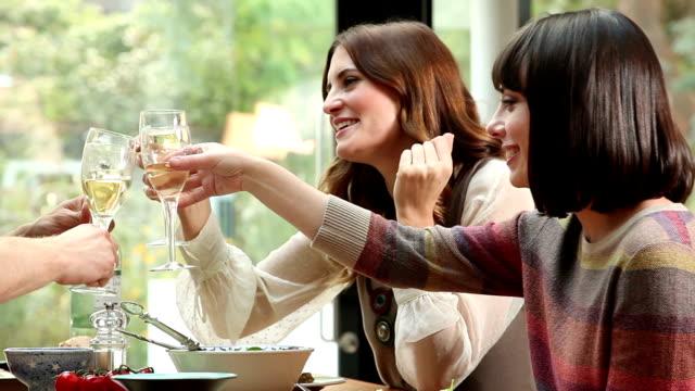 Drinking wine, Cheers. video