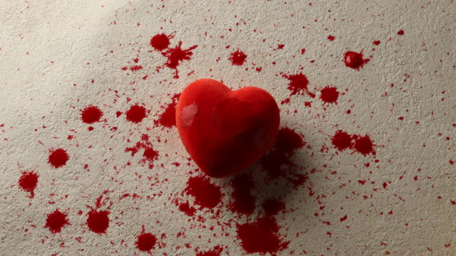 Dripping blood and red heart shape
