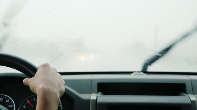 Drive in a pouring rain. View from the car interior video