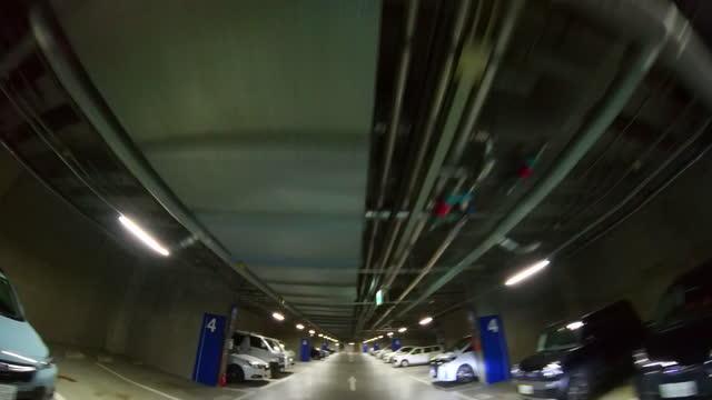 Drive through the underground parking garage