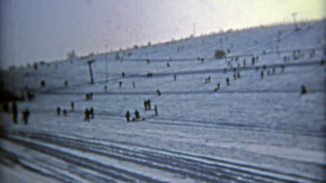 MONTREAL, CANADA 1975: Drive up ski resort right next to road, parking on slopes. video