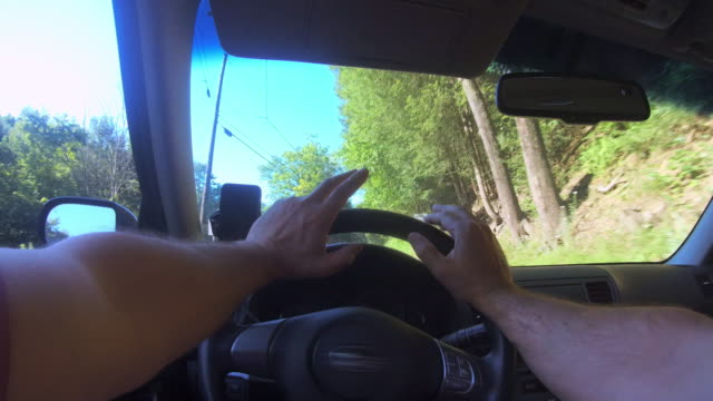 Driver point of view: a man driving a car on the road in Poconos, Pennsylvania video