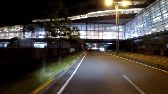 Driver's view of Tokyo International Airport nightscape. video