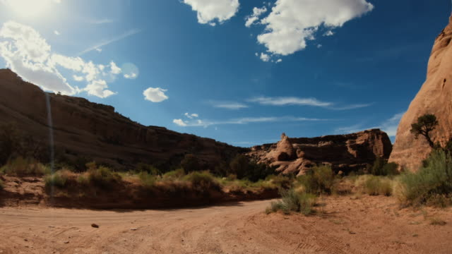 POV Driving a 4WD car off road in the desert canyons of USA Southwest