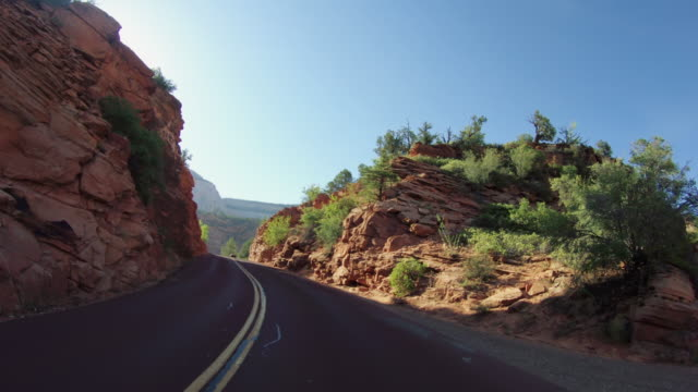 POV driving a car in Zion National Park