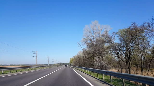 Driving a Car on a Country Road. Point of view front - windshield. video