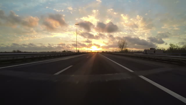 Driving a car on the highway POV video