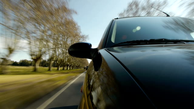 Driving a car, windshield reflection. Hood side reference video