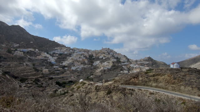 Driving along the famous mountain village of Olymbos, at the greek island of Karpathos