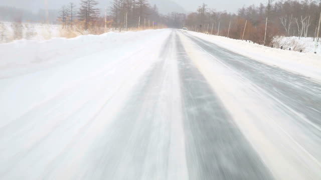 Driving at snow road video