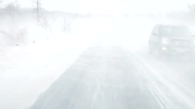 Driving at snow road video