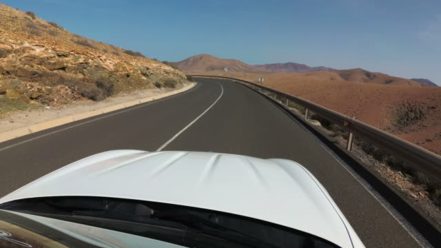 Driving by car on a beautiful road in Spain, Fuerteventura