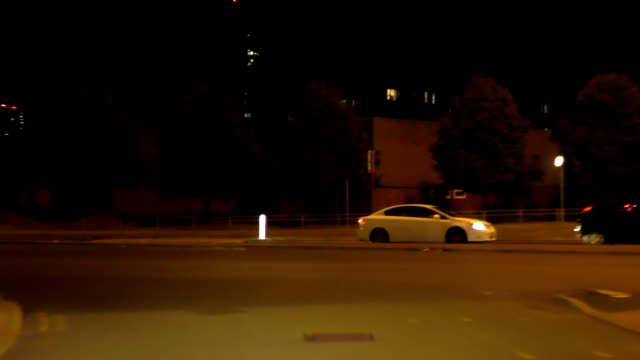 Driving car in the city at night video