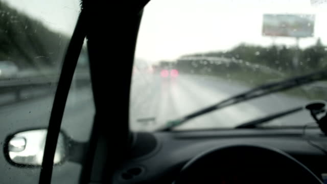 Driving car in the rain video