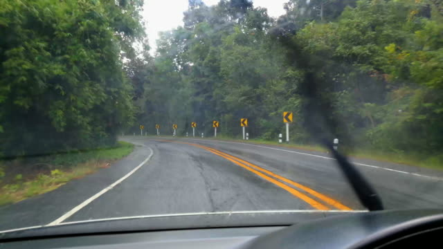Driving Curve Road In The Rain Shot On Smart Phone