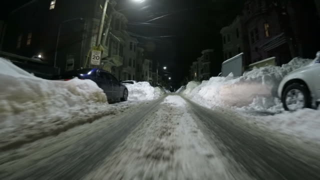 Driving down a Boston street after the Blizzard of 2015 video