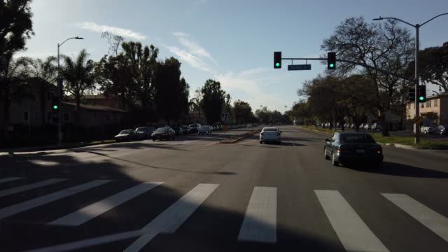 Driving down Martin Luther King Blvd 2. LOS ANGELES, CALIFORNIA - APRIL 14, 2019: Driving in South Los Angeles Traffic. Driving down Martin Luther King Blvd. The transformation from Santa Barbara Ave. to Martin Luther King Blvd. began with businessman Celes King III. Mr. King III strongly believed L.A. should and must have a street named after the civil rights activist. civil rights stock videos & royalty-free footage