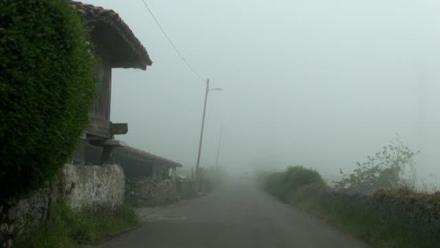 driving foggy rural street video