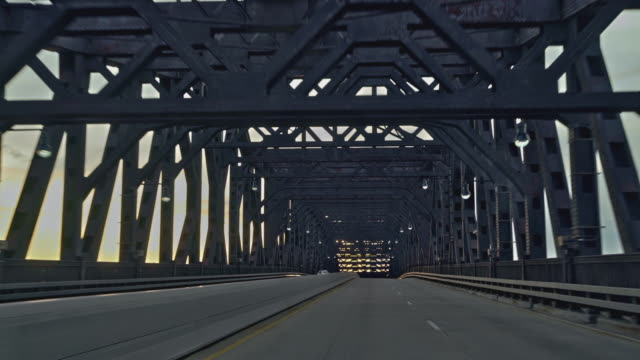 Driving General Pulaski Skyway bridge in New Jersey. Driver point of view.