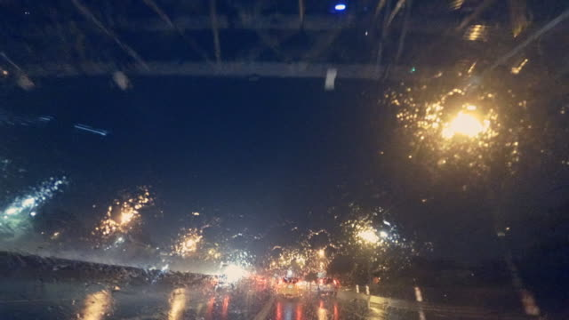 Driving in Brooklyn in heavy rain at night