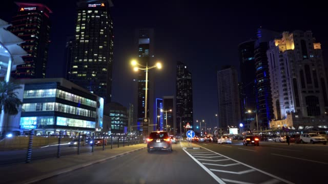 Driving in Doha, Qatar Driving in Doha, Qatar recreational boat stock videos & royalty-free footage