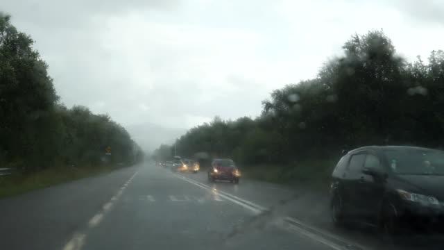 Bидео Driving in Ireland N22 highway in rain