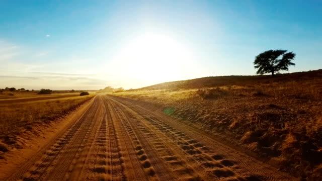 Driving in the Kalahari Desert Driving on Sandy Road in the Kalahari namibia stock videos & royalty-free footage