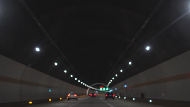터널에서 운전 - 초점 이동 스톡 비디오 및 b-롤 화면
