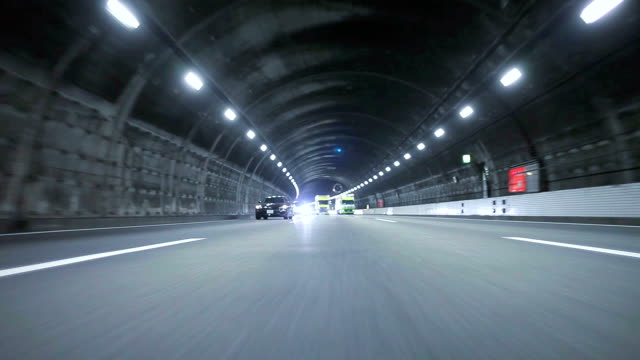 Driving in Tunnel,Rear View video