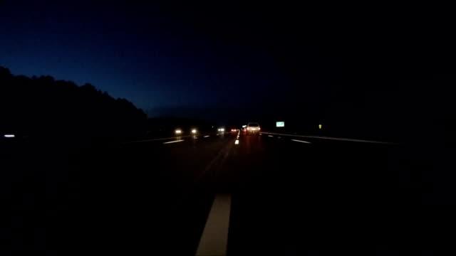 Driving Interstate at Night Changing Lanes video