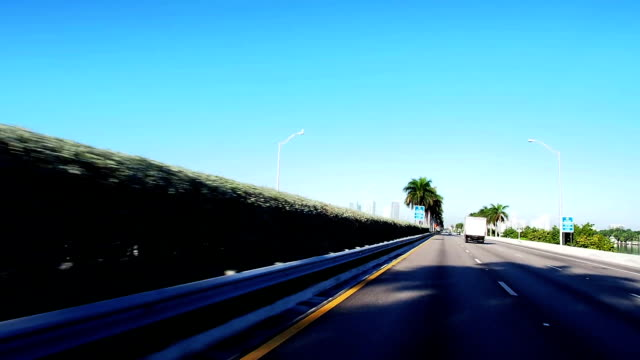 Driving Mac Arthur Causeway from Beach to Miami video