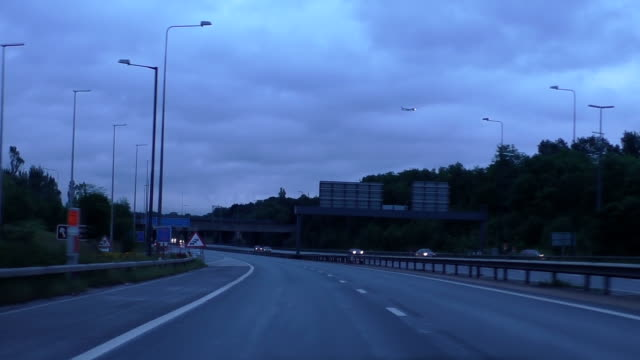 Driving motorway early in the morning