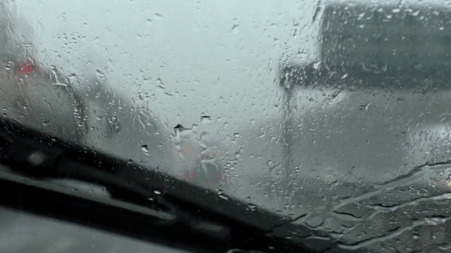 Driving motorway in storm video
