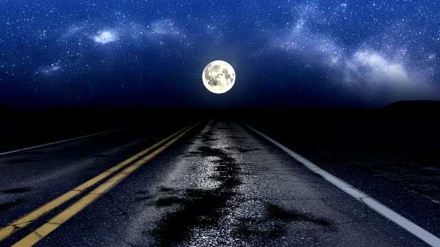 Driving night road loop Driving night road under stars and moon, loop eternity stock videos & royalty-free footage