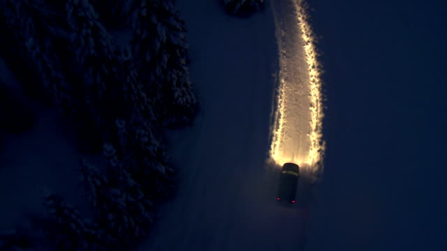 Driving On A Snowy Road At Night