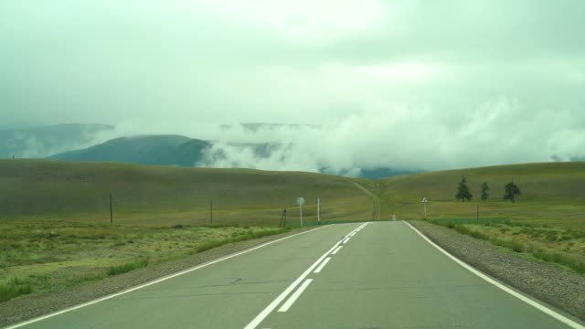Driving on a winding mountain road