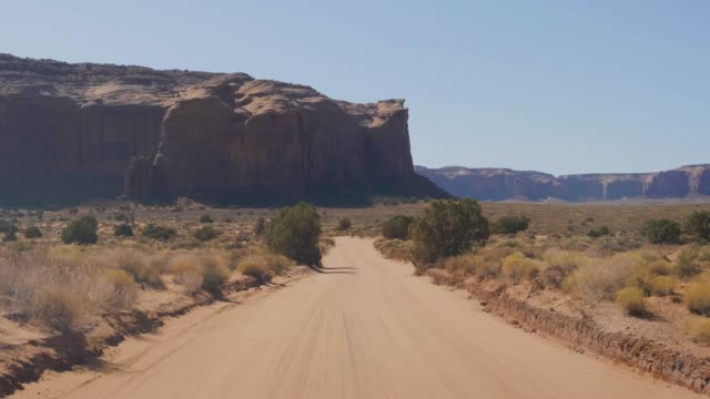 Driving On Dusty Dirt Road In Desert Among Red Rocks Buttes Of Monument Valley