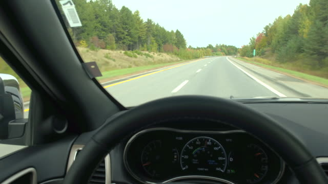 DRIVER'S POV Driving on empty highway through gorgeous colorful forest in autumn video