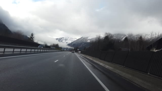 POV driving on French Highway to Chamonix Mont Blanc video