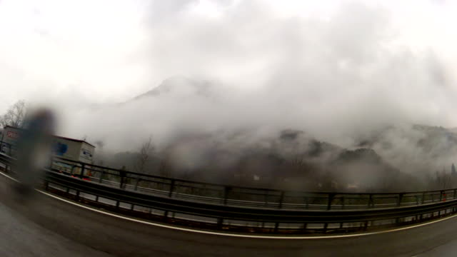 Driving On Highway Italian Alpes On A Rainny Day video