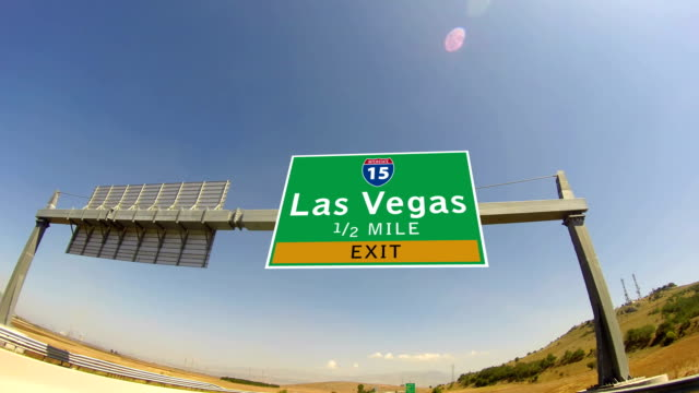 4K Driving on Highway/interstate,  Exit sign of the City Of Las Vegas, Nevada video