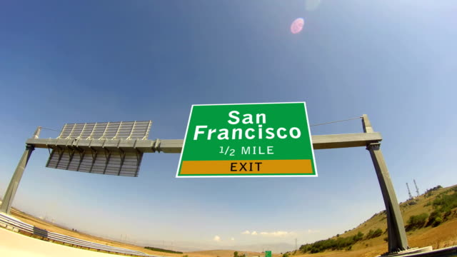 4K Driving on Highway/interstate,  Exit sign of the City Of San Francisco, California video