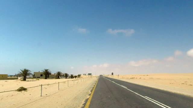 Driving on Luderitz to Walvis Bay coastal Road next to Namib Desert, Namibia video