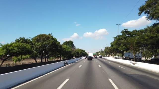 Driving on Marginal Tiete, Sao Paulo Video taken at a car driving at Marginal Tiete, Sao Paulo marginal tiete highway stock videos & royalty-free footage
