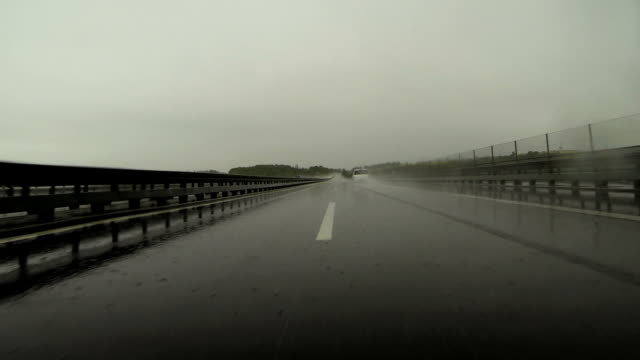 Driving on Rainy Highway POV video