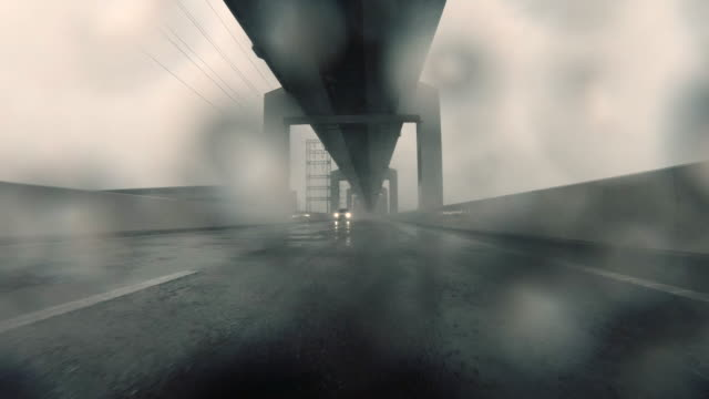 Driving on stormy highway / rear view / Electricity Pylon