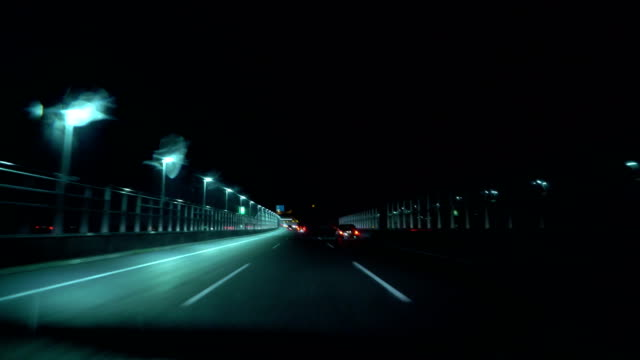 driving on the night highway video